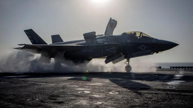 FILE — An F-35B takes off from the deck of the USS Essex to take part in combat operations in Afghanistan, Sept. 27, 2018. L3 Technologies, a major government contractor that helps the U.S. military conduct surveillance and reconnaissance missions, has agreed pay some 250 qualified reservists a total of $2 million to settle a discrimination lawsuit. (Matthew Freeman/U.S. Navy via The New York Times) -- FOR EDITORIAL USE ONLY --