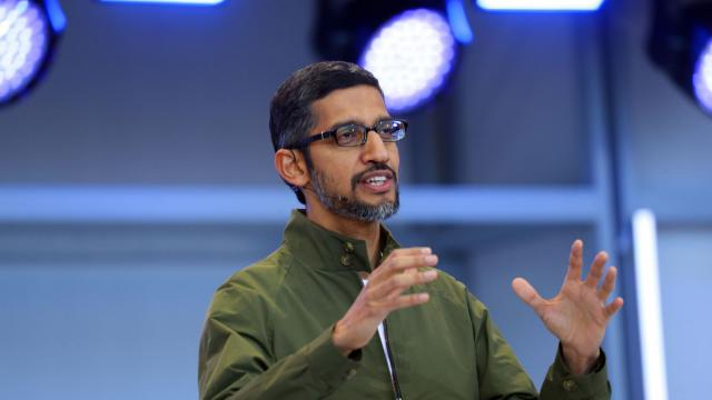FILE — Sundar Pichai, the chief executive of Google, in Mountain View, Calif., May 8, 2018. More than than 1,500 Google employees — most of whom are women — plan to walk out of the company's offices on Nov. 1 to protest Google's workplace culture and how it handled sexual harassment. (Jim Wilson/The New York Times)