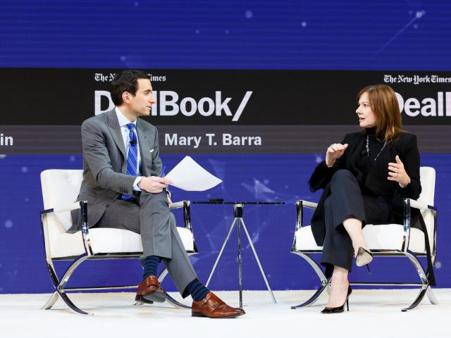 """Mary Barra, the chief executive of General Motors, speaks with Andrew Sorkin at the New York Times DealBook conference in Manhattan, Nov. 1, 2018. Barra said here that GM is """"on track"""" to roll out a ride-sharing service in 2019 that would rely on autonomous vehicles, a development that would advance the already-heated race to bring a self-driving car to market. (Mike Cohen/The New York Times)"""