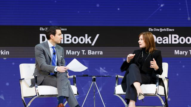 "Mary Barra, the chief executive of General Motors, speaks with Andrew Sorkin at the New York Times DealBook conference in Manhattan, Nov. 1, 2018. Barra said here that GM is ""on track"" to roll out a ride-sharing service in 2019 that would rely on autonomous vehicles, a development that would advance the already-heated race to bring a self-driving car to market. (Mike Cohen/The New York Times)"