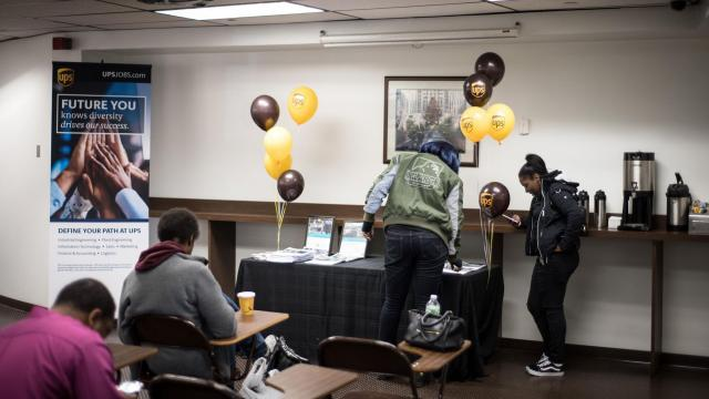 """People at a United Parcel Service hiring event in Manhattan, Oct. 19, 2018. The Labor Department released its hiring and unemployment figures for October, providing the latest snapshot of the American economy. """"The underlying fundamentals of the labor market are still really bright,"""" an economist said after the last official pre-election economic reading. (Kholood Eid/The New York Times)"""