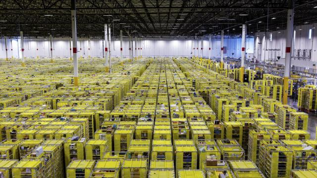 FILE -- Shelves with products inside the Amazon Fulfillment Center in Carteret, N.J., Oct. 18, 2018. After conducting a yearlong search for a second home, Amazon has switched gears and is now finalizing plans to have a total of 50,000 employees in two locations, according to people familiar with the decision-making process. (Demetrius Freeman/The New York Times)