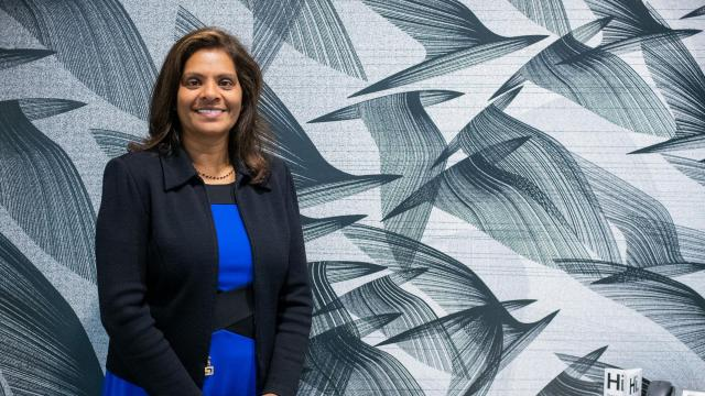 Shamla Naidoo, global chief information security officer for IBM, who has had success reaching out to mothers returning to work, as well as to veterans, to find potential cybersecurity workers, in Austin, Texas, Oct. 22, 2018. Employers and educators are rethinking the way they attract and train potential employees to meet the demands of an increasingly vulnerable online world. (Sandy Carson/The New York Times)