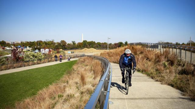 Long Bridge Park in Crystal City, one of three areas in Northern Virginia that got a new shared name, National Landing, Nov. 11, 2018. Arlington and Alexandria officials coined it after joining forces to prepare a single bid to persuade Amazon to put its second headquarters in the region. (Hector Emanuel/The New York Times)