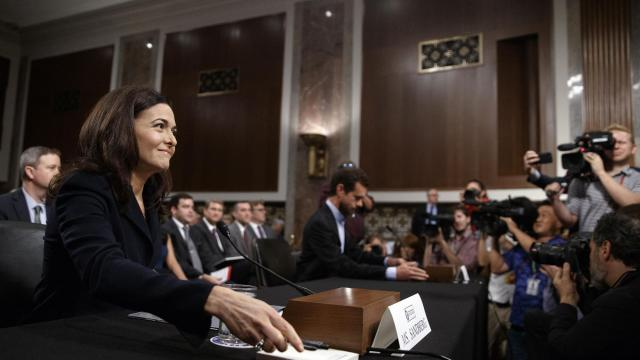 FILE -- Sheryl Sandberg, left, Facebook's chief operating officer, during a Senate Intelligence Committee hearing on Capitol Hill in Washington, Sept. 5, 2018. A few days before Sandberg testified, a small firm called Definers Public Affairs, which had focused on the internet company's competition, set its sights on a new target: the senators. (Tom Brenner/The New York Times)