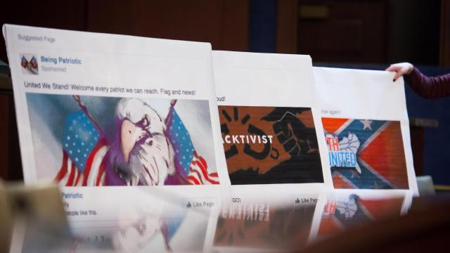 """FILE — Posters of Facebook posts used as a visual aid during a hearing on Capitol Hill in Washington, Nov. 1, 2017. The alliance between Democrats and Silicon Valley has buckled and bent this year amid revelations that platforms like Facebook and Twitter allowed hateful speech, Russian propaganda and conservative-leaning """"fake news"""" to flourish. (Eric Thayer/The New York Times)"""