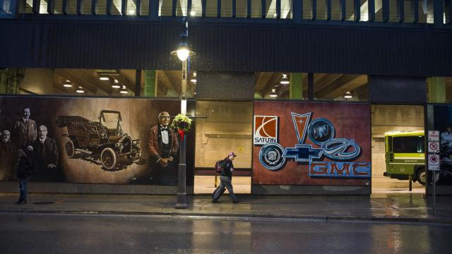 A set of murals depict the history of the local auto industry, in downtown Oshawa, Ontario, Canada, Nov. 26, 2018. General Motors has been making cars in Oshawa, for more than a century in factories that once employed upward of 40,000 people, so the company's announcement on Monday that it would stop production brought recriminations from across the Canadian political spectrum. (Ian Willms/The New York Times)