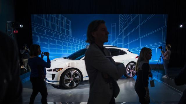 FILE -- The battery-powered Jaguar I-Pace at the New York auto show, March 27, 2018. There is a scrum of companies pushing to perfect the technology that will put an autonomous vehicle in your garage, but private ownership is years away. Waymo, a Google spinoff, announced that it would use the I-Pace for its driverless ride service. (Joshua Bright/The New York Times)