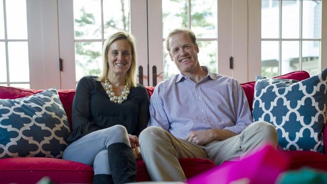 "Ashley and Richard Perkin, founders of Gells, at their home in Southport, Conn., Nov. 29, 2018. The ""giveback"" strategy, in which a social cause is an integral part of a corporate mission and brand marketing, has become a necessity for some entrepreneurs. Gells manufactures accessories and gives a portion of their sales to local causes. (Gregg Vigliotti/The New York Times)"