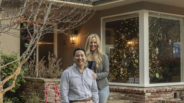 Tom Taira, a co-founder of the auto website TrueCar, and his wife Stephanie at home in Lafayette, Calif., Dec. 6, 2018. Taira recently used the internet to research a new diamond and setting to replace the engagement ring he'd given Stephanie a decade ago. (Cayce Clifford/The New York Times)