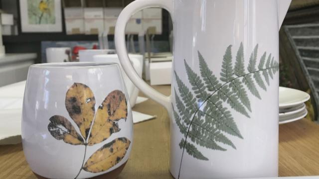Leaf Mug and Fern Pitcher