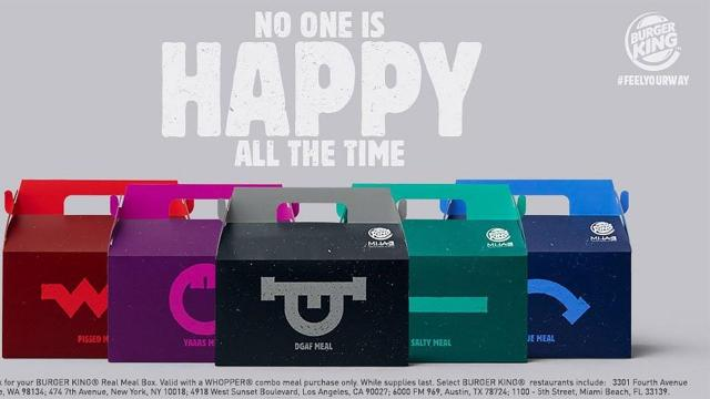 """Burger King rolled out a new Whopper meal box, called """"Real Meals,"""" labeled with different moods and colors. The packaging comes in five moods: the Pissed in red, Blue for sad, Salty in teal, YAAAS in purple and DGAF in black. (Burger King)"""