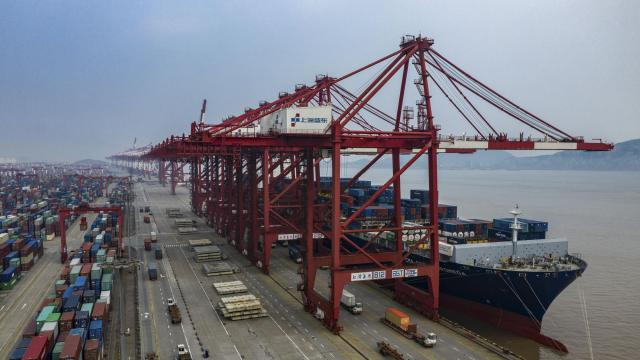 FILE-- The Yangshan Port near Shanghai, China, May 27, 2019. China said on Aug. 23 that it would impose tariffs on $75 billion in American-made goods if President Donald Trump carries through on his promise to escalate his trade war with Beijing, in a sign that neither side is ready to back down from an economic conflict that has already cast a shadow over global growth prospects. (Lam Yik Fei/The New York Times)