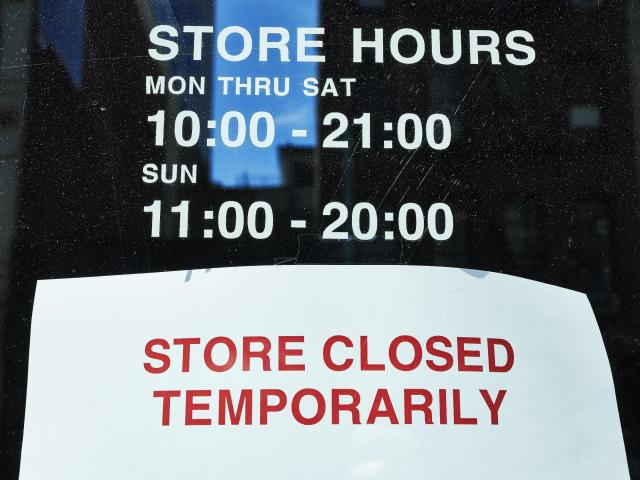 A closed store, March 16, 2020. Shutdowns in the retail and hospitality businesses may be an early sign of the job losses that the coronavirus outbreak will inflict on the economy. (Gabby Jones/The New York Times)