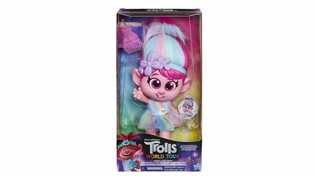 """Hasbro is removing the """"Trolls World Tour Giggle and Sing Poppy"""" doll from stores amid complaints that the button under her skirt is inappropriately placed."""