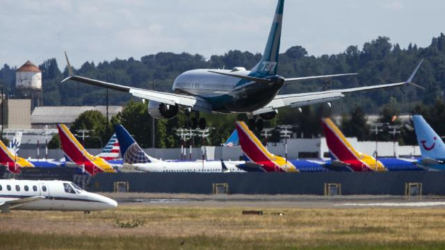 FILE -- A Boeing 737 Max lands at Boeing Field in Seattle, July 10, 2020. The World Trade Organization on Tuesday, Oct. 13, 2020, gave the European Union permission to impose tariffs on $4 billion worth of American products annually in retaliation for illegal subsidies given to U.S. plane maker Boeing, a move that could result in levies on American airplanes, agricultural products and other goods. (Lindsey Wasson/The New York Times)