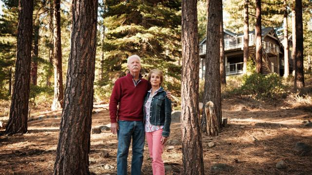 "Joe and Edie Farrell outside their home in Incline Village, Nev., on Oct. 20, 2020. ""Airbnb is basically helping people set up a hotel in our neighborhood,"" Joe Farrell said. (Max Whittaker/The New York Times)"