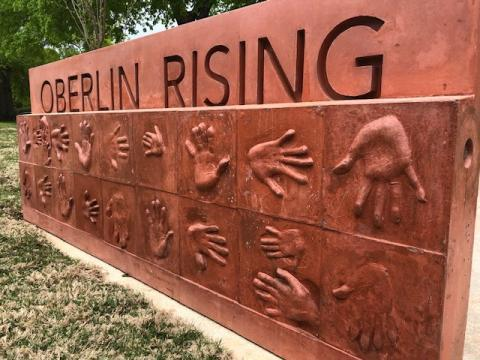 Oberlin Rising was art put up to honor the history of Oberlin Village in Cameron Village Shopping Center.