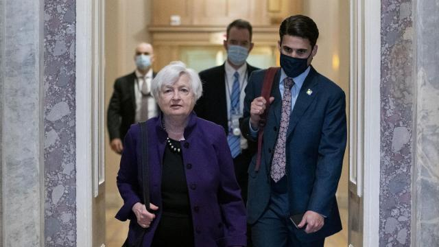 FILE -- Treasury Secretary Janet Yellen at the Capitol in Washington, Aug. 3, 2021. The Treasury secretary must determine how to keep paying the nation's bills as gridlock leads the economy careening toward a crisis. (Stefani Reynolds/The New York Times)