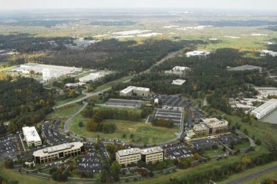 An aerial view of the RTP Commons area. (RTP Foundation photo)