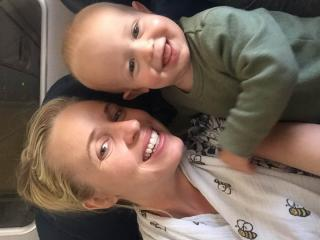 Carmen Rasmusen Herbert and her son make it on standby after a passenger gave up his seat so she could get home. (Deseret Photo)