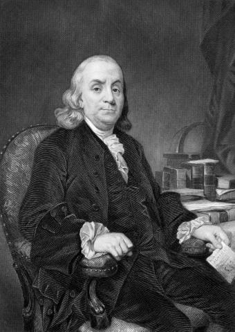 Benjamin Franklin (1706-1790), one of the Founding Fathers of the United States, on engraving from 1873. (Deseret Photo)