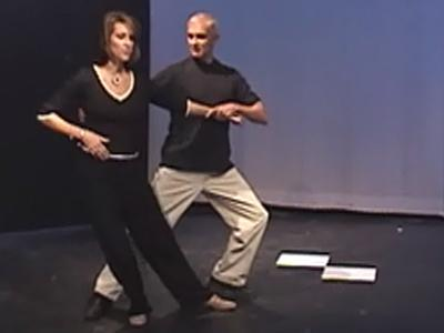 """WRAL-TV news anchor Lynda Loveland practices with her professional dance instructor, Dick Hensley, for the April 27 competition """"Dancing Like the Stars."""""""