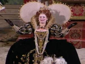 "An actress portrays Queen Elizabeth I at a production of ""The Lost Colony"" in Manteo's outdoor Waterside Theatre."