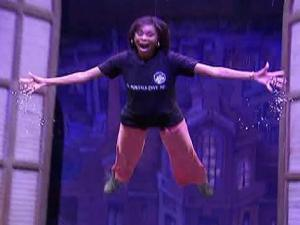 WRAL Anchor Valonda Calloway flies through the air like Peter Pan.