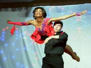 "Valonda Calloway competes in the ""Dancing Like the Stars"" competition on April 26, 2009."