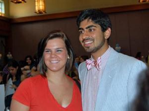 American Idol contestant Anoop Desai and fan Meredith Williams, 18, during a ceremony in Desai'is honor at the UNC Carolina Club on May 4, 2009.