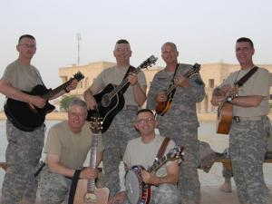 Some members of the Baghdad Bad Boys, a bluegrass, country and Gospel group formed by Fort Bragg-based soldiers at Camp Victory in Iraq. (Photo courtesy of BaghdadBadBoys.com)