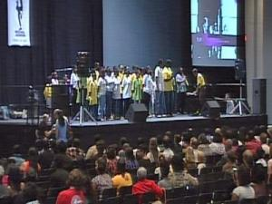 The Martin Luther King Jr. All-Children's Choir of Raleigh performs during a local memorial for Michael Jackson on July 7, 2009.