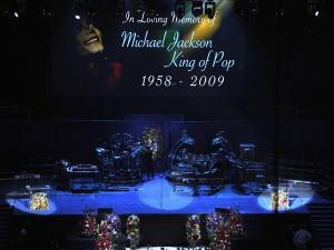 Lighting technicians and stage hands set up before the start of US pop star Michael Jackson memorial service at the Staples Center in Los Angeles, California, USA, 07 July 2009. Jackson died 25 June 2009 at the age of 50. EPA/ANDREW GOMBERT POOL