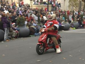 Stormy, mascot of the Carolina Hurricanes, was popular with kids along the parade route.