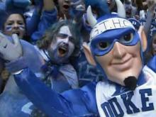 Duke fans celebrate win over UNC