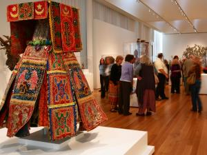 Th African art gallery was popular with museum visitors.