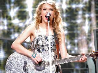 Taylor Swift rocks out during a show at the RBC Center on May 1, 2010.