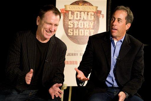 "Colin Quinn, left, and Jerry Seinfeld discuss ""Long Story Short"", the one-man theatrical show moving to Broadway starring Colin Quinn and directed by Jerry Seinfeld, at a news conference in New York, Tuesday, Oct. 12, 2010. (AP Photo/Charles Sykes)"