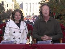 Morning news anchors Bill Leslie and Kelcey Carlson host the 66th annual WRAL-TV Raleigh Christmas Parade.