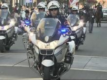 Raleigh police motorcycles, color guard and horses