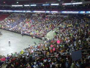 "Crowds gathered at the RBC Center in Raleigh to watch the ""American Idol"" finale on May 25, 2011."
