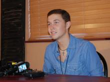 Web only: Scotty talks with reporters backstage