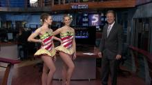 WRAL anchor Bill Leslie and The Rockettes, Nov. 16, 2011.