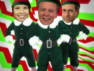 "The WRAL Morning News crew ""elfed"" themselves on elfyourself.jibjab.com."