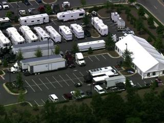 "A convoy of RVs, trailers and tents set up camp at Cary's Epic Games studios on Monday, June 4, 2012, for the first day of production of the movie ""Iron Man 3."""