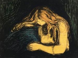 Edvard Munch, Vampire II , 1895–1902, lithograph and woodcut