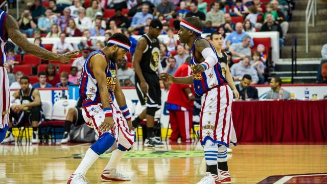 The Globetrotters take on the World All-Stars at the PNC Arena in Raleigh on March 2, 2014. (Scott Clevenger/WRAL Contributor)