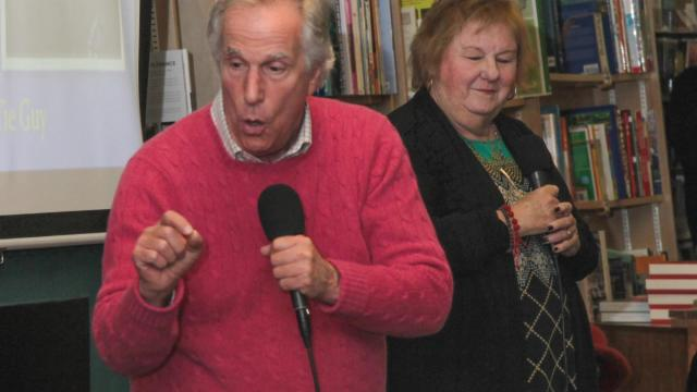 "Henry Winkler & Lin Oliver Co-authors of 'Fake Snakes and Weird Wizards' the fourth book in the ""Here's Hank' series visited the Quail Ridge Bookstore Thursday evening February 12, 2015."
