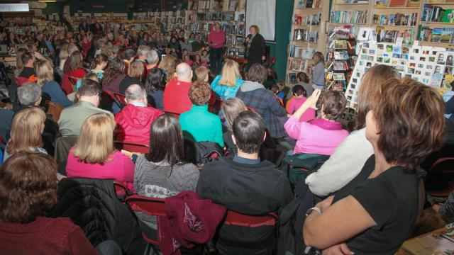 """Henry Winkler & Lin Oliver Co-authors of 'Fake Snakes and Weird Wizards' the fourth book in the """"Here's Hank' series visited the Quail Ridge Bookstore Thursday evening February 12, 2015."""